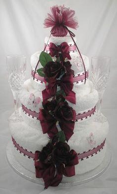 Four Tier Wedding Towel Cake in Wineui