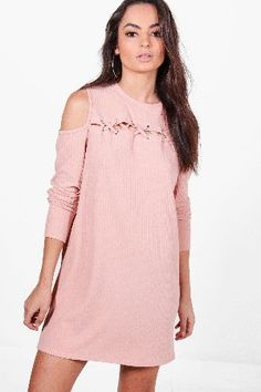 #boohoo Lace Up Cold Shoulder Rib Knit Dress - pink #Abbey Lace Up Cold Shoulder Rib Knit Dress - pink