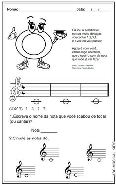 ATIVIDADES DE EDUCAÇÃO INFANTIL  E MUSICALIZAÇÃO INFANTIL: Musicalização - nota dó - semibreve:
