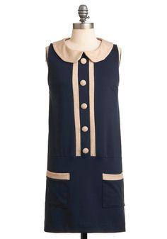 Drop Waist By to Say Hi Dress - Blue, Tan / Cream, Buttons, Peter Pan Collar, Trim, Sheath / Shift, Sleeveless, Casual, Vintage Inspired, 60s, Short