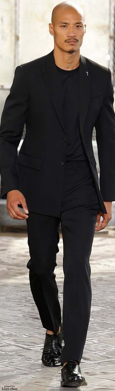 Givenchy Spring 2016 Like it, but... no naked foot in shoes when wearing a suit. Allways wear socks unless you wear sandals as this guy do!