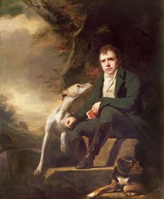 Portrait of Sir Walter Scott and his dogs,1820's ༺✿ Hangs in The Chinese Drawing Room over the fireplace mantle Abbotsford House.