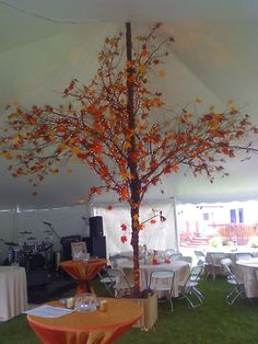 fall tent decor | ... -colored-leaves-for-fall-themed-wedding-reception-decoration-in-tent