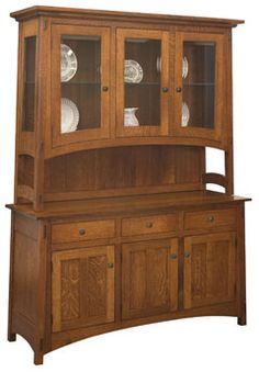 Amish Outlet Store : Collbran 3 Door Hutch in Rustic Cherry