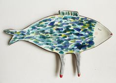 Mrs. Blue Fish with legs - ceramic spoon rest