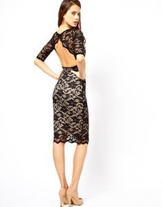 Spotted On Sale! Elise Ryan Open Back Midi Dress in Lace #style