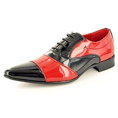 Mens Jazzy Italian Style Two Tone Shiny Spats Lace Up Brogues Formal Shoes - also available in Black/White