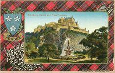 Edinburgh Castle and the Ross Fountain. Crest and tartan of clan Fraser. Fraser Clan, Alfred The Great, William Wallace, Edinburgh Castle, Scotland Uk, Vintage Postcards, Outlander, Tartan, Fountain