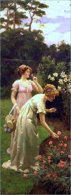 Two Ladies Picking Flowers -Charles Haigh Wood.