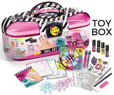 Nail Art Caddy Only 4 Girls Storage Nail Polis Stickers Glitter Body Marker Tattoo Instructions >>> Read more at the image link. (This is an affiliate link) Paper Spinners, Art Caddy, Water Based Nail Polish, Cute Tiny Tattoos, Stick On Nails, Kids Makeup, Girls Nails, Birthday Gifts For Girls, Girls Jewelry