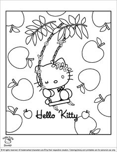 Hello KittyHappy Birthday Princess Coloring Sheet