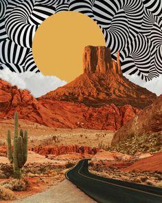 Desert Wall Art, Home Office Wall Art, Digital Collage Prints, Desert Art, Utah Art, Moab Art, Surre