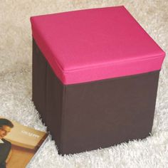 Pink Ottoman Foldable Storage Stool Available on Wysada.com