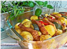 Schab marynowany pieczony w warzywach Potato Salad, Sausage, Potatoes, Chili, Meat, Chicken, Cooking, Healthy, Ethnic Recipes