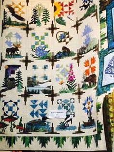 This beautiful quilt features 16 scenes from the Northern Wilderness. This quilt combines traditional piecing and quick, easy, fused applique Batik Quilts, Sampler Quilts, Panel Quilts, Applique Quilts, Quilt Kits, Quilt Blocks, Wildlife Quilts, American Quilt, Animal Quilts