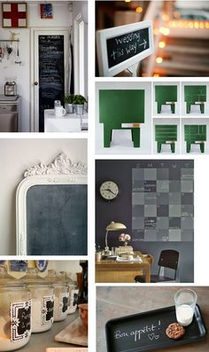 chalkboard paint ideas.  And remember that Chalk Paint® decorative paint by Annie Sloan can be used as a chalkboard paint too!  30 yummy colors and paint 3 layers...season board by wiping a piece of chalk across it on it's side, and then wiping it over with a dry cloth.