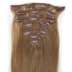 Clip In Human Hair Extensions Golden Brown(#12)