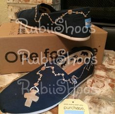 91e5df1132d Items similar to RubiiShoos Original- Navy Toms- Women s Shoes- Religious  Shoes- Prayer- Rosary- Hand Painted- Custom Toms- Faith- Gift- on Etsy