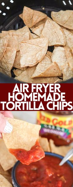 Making homemade tortilla chips in the air fryer is so easy! Fresh, tasty, and done in just a few minutes, you'll never go back to pre-made chips! Pair with @RedGoldTomatoes Salsa made from award-winning tomatoes for the perfect snack! #ad #redgoldtomatoes #redgoldrecipes #RedGoldSummerHits #CookingwithRedGold Yummy Appetizers, Yummy Snacks, Appetizer Recipes, Snack Recipes, Yummy Food, Fun Food, Healthy Snacks, Dinner Recipes, Cooking Recipes