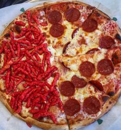 Putting hot cheetos on pizza: | 19 Things Only People Who Are Obsessed With Hot Cheetos Understand