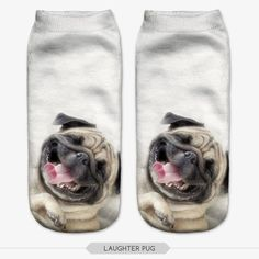 """Pug 3D Printed Socks Unisex Material : Polyester One Size Length: 19cm / 7.48""""…"""