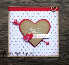 jpp - Karte Herz / Amors Pfeil / /card / heart / Valentine's / Valentinstag / Liebe / sneak peek / OnStage 2016 / Schauwand Designer / Display Stamper / Stampin' Up! Berlin / Mit Gruß und Kuss / Sealed with love / love notes / love suite / Liebesgrüße www.janinaspaperpotpourri.de