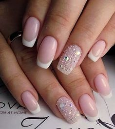Accurate nails Beige and white nails Body nails Exquisite french manicure French manicure ideas 2017 French manicure with rhinestones Nails of natural shades Natural nails French Manicure Designs, Best Nail Art Designs, Nails Design, Bride Nails, Wedding Nails, Wedding Art, Fun Nails, Pretty Nails, Milky Nails