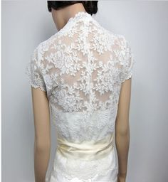 short sleeve lace  wedding jacket  Bolero bridal by etwedding, $69.00