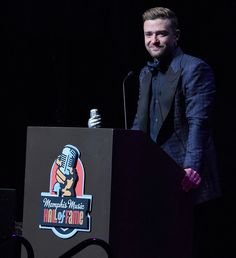 """Justin Timberlake Wipes Away Tears, Thanks His """"Rock"""" Jessica Biel During Memphis Hall of Fame Induction from InStyle.com"""
