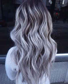 Details about European Real Human Hair Wigs Long Ombre Grey Lace Front Wig Full Lace Wigs - Beauty - Accesorios para Cabello Ombre Hair Color, Hair Color Balayage, Grey Hair Colors, Haircolor, Grey Ombre, Silver Grey Hair, Silver Lavender Hair, Gray Purple Hair, Grey Brown Hair