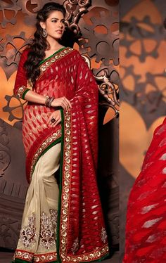 Picture of Gorgeous Beige and Red Color Embroidered Saree
