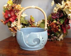 SALE: Handmade Stoneware Yarn Bowl with Bamboo Handle