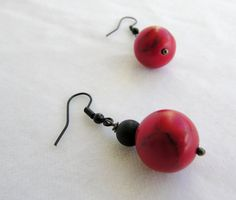 Black Earrings, Wire Earrings, Turquoise Earrings, Red Turquoise, Red Coral, Red Hook, Natural Red, Silver Color, Red Black