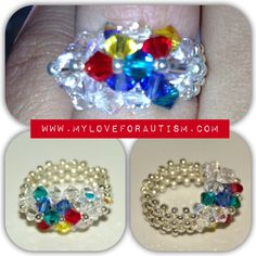 Swarovski Crystal Autism Awareness 'Ribbon Ring' available only at www.MyLoveForAutism.com