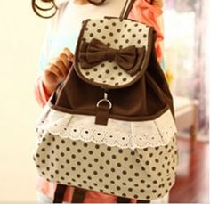 Canvas Polka-dot Backpack with Bow - cute for tween/teen girl