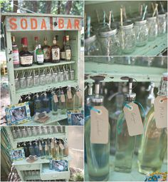 vintage style soda bar. wedding bar station.  photography by: www.amandadoublin.com