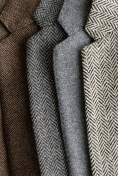 Men's Suiting - Harris tweeds in black and grey or subtle shades of navy, etc. have always been in style. Classic style.