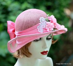 Woman's Summer Straw Sinamay Cloche Hat in Pretty Pink with Lace and Flowers - product image