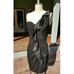 David's Bridal Special Occasion Dress NWOT Gorgeous, silky black dress great for any special event! NWOT, wrong size, never worn. David's Bridal Dresses