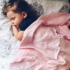 Toddler muslin blanket with Pom Pom trim / baby girl / pink Baby Pink
