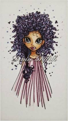 Emma Hair: BV02, BV04, BV08 and V09 plus Purple 05 Medallion Drawing Pen Face: E000, E00, E04, E11, E21 and R20 for the cheeks Lips: V01 under with RV34 on top Eyes: BV04 Dress: RV00 and RV21 plus Purple 05 Medallion Drawing Pen Dolly'z Cardz: A big day of colouring with my crafty friends