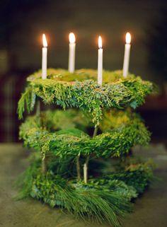 Chandelier-styled wreath arrangement.