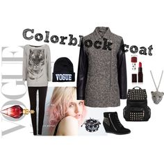 """""""Colorblock coat"""" by peackapples on Polyvore"""