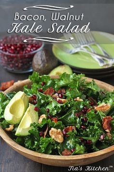 Amazing Kale Salad Recipe with BACON, Walnuts and Avocados is so easy and really delicious. A great side dish to any dinner. Of perfect on its own. Dairy-free + gluten-free via @tiaskitchenfood