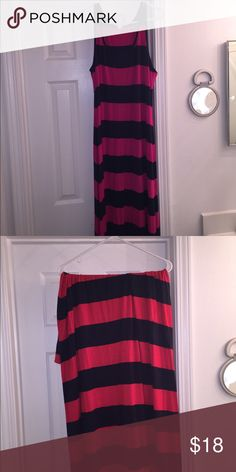BOGO maxi dresses! BOGO MAXI DRESSES! one hot pink and navy tank top straps and the second on is red and navy strapless! Both only worn once. Soft and stretchy cotton. Really want them out of my closet! Old Navy Dresses Maxi