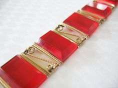 Art Deco Link Bracelet Lipstick Red Faceted by tubbytabby on Etsy, $49.00