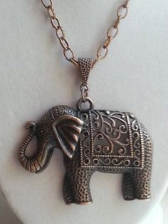 Bronze/Copper Steampunk Elephant pendant necklace by ILoveBeads247, $14.00