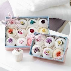 Bath Melts: 2 C melted cocoa butter, 2 C baking soda, 1 C citric acid, food coloring, skin-safe essential oils/fragrance oil.