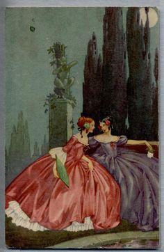 Illustratore Italiano Chiostri? Donnine eleganti al chiaro di Luna PC Circa 1910   Collezionismo, Cartoline, Illustratori   eBay!