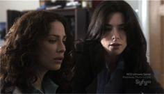 """Warehouse 13"": Myka Bering(Joanne Kelly) and H.G. Wells(Jaime Murray)"